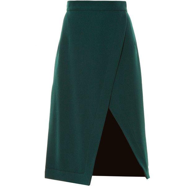 Altuzarra Jude asymmetric hem-split skirt found on Polyvore featuring skirts, altuzarra, green, green skirt, green high waisted skirt, below knee skirts, high-waist skirt and wool skirt