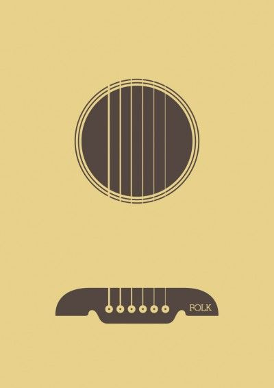 minimalist poster for the folk music genre. part of a poster series where 12 designers from around the world represent a musical genre using just one shape and one type.