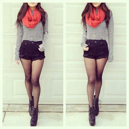 high waisted shorts with tights and combat boots www