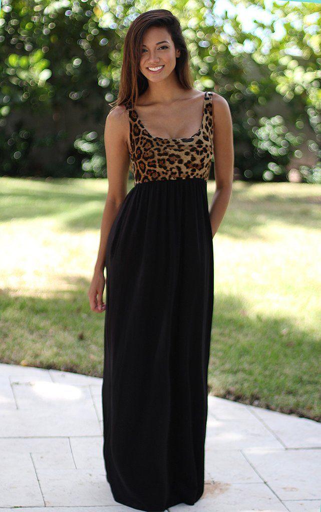 Leopard Maxi Dress With Pockets