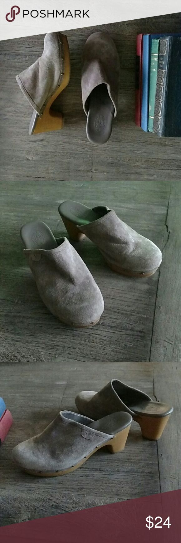 TODAY ONLY!!  Suede Clogs by American Outfitters Taupe colored suede clogs by American Outfitters with leather upper and man made sole. American Outfitters Shoes Mules & Clogs
