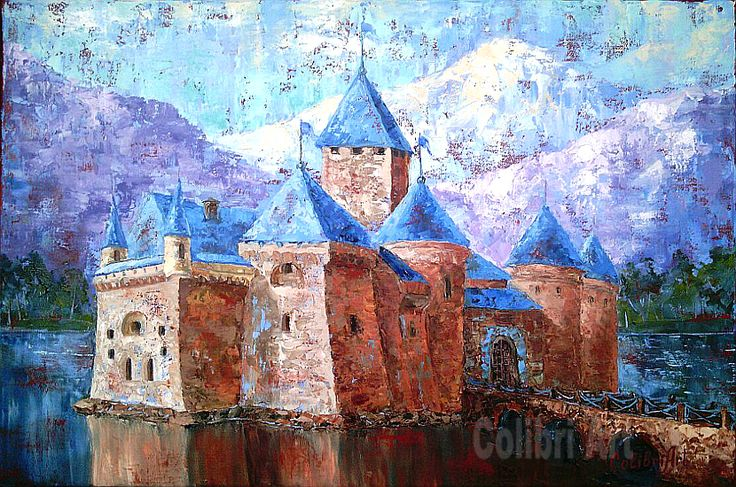 "Original Handmade Oil Painting The Legend 16"" x 24"" Gallery Canvas by Colibri Art Painting  Oil  colorful painting  original painting  painting for gift  present for men  impressionism castle  kingdom  medieval  king  queen  bridge  river  stone"