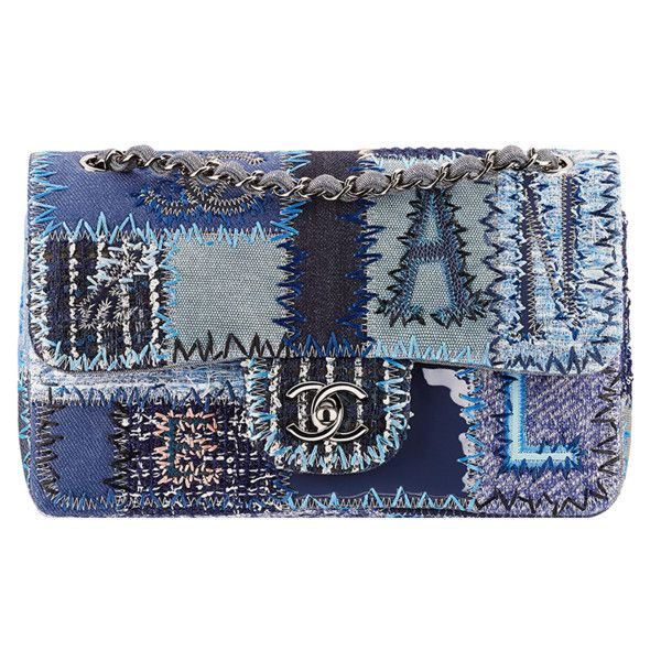 Denim patchwork flap bag Chanel ❤ liked on Polyvore featuring bags, handbags, shoulder bags, chanel shoulder bag, denim purse, chanel purses, flap bag and chanel handbags: