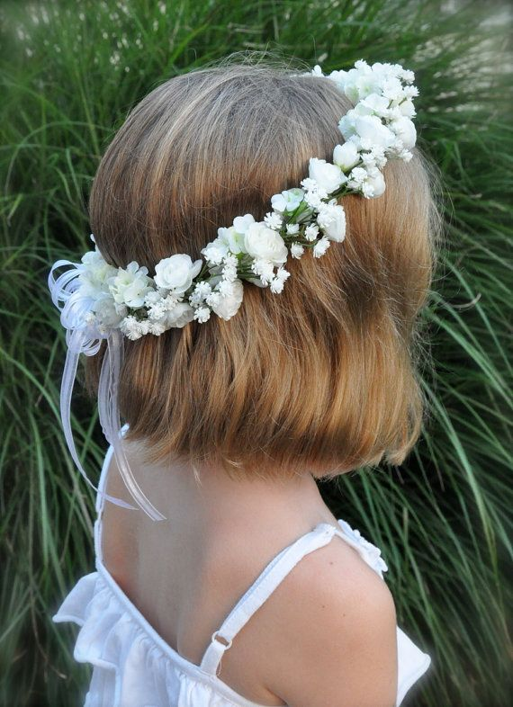 this would be PERFECT for my flower girl because it has our wedding flowers - white roses and baby's breath!