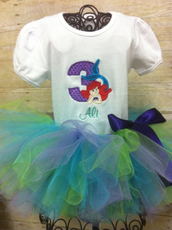 little mermaid birthday outfit tutu embroidered