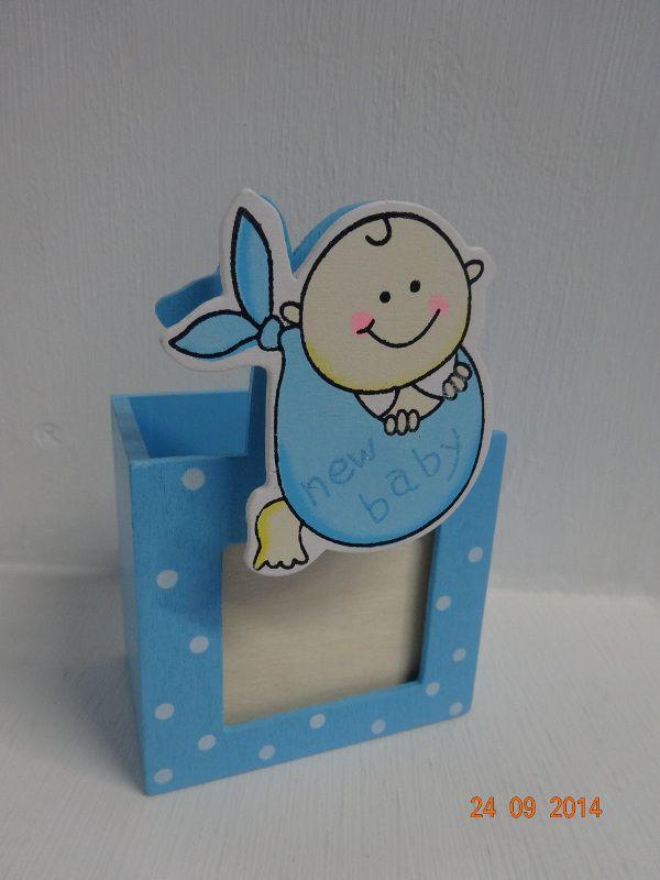 Porta lapices New Baby para recordatorios. #BabyShowerDeNino #RecordatoriosDeBabyShowerArmenia