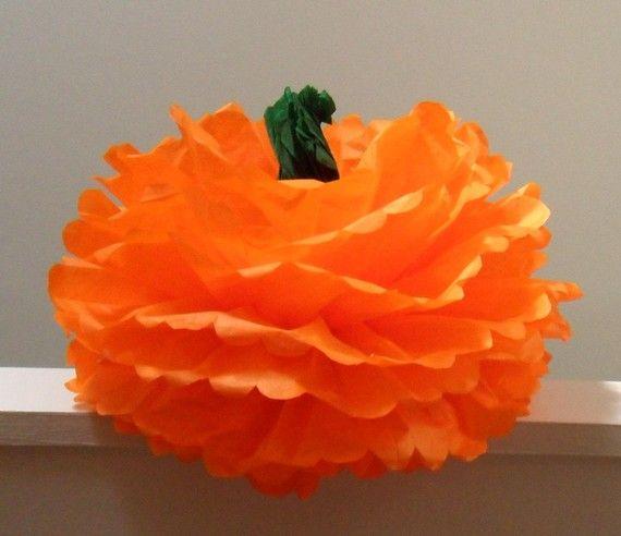 Thanksgiving Autumn Pumpkin Tissue Paper Pom Pom by createandadorn, $6.00