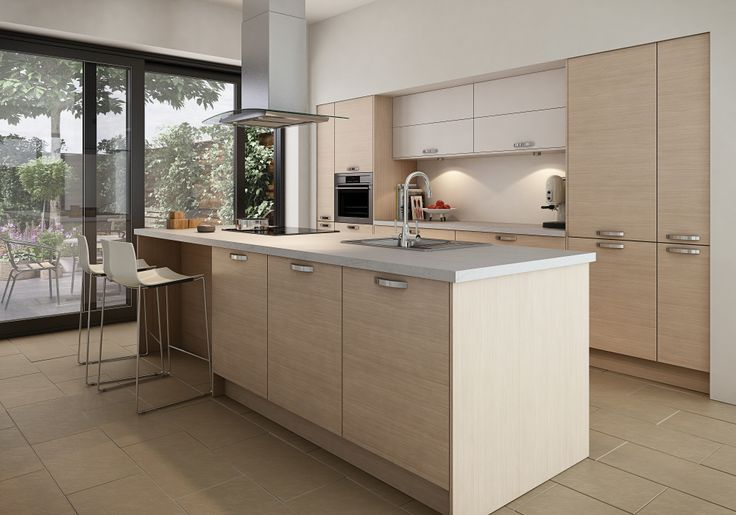 Albury Modern Oak and Albury Cool White work well together if you're looking for a contrast. Modern oak is a textured kitchen door, while Cool white is a smooth style door.  http://www.moores.co.uk/Definitive-Kitchens/Range-Selection/Albury/126/Modern%20Oak/2/8