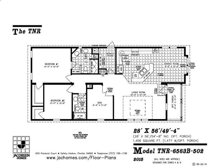 2 bedroom 2 bath manufactured home floor plan model tnr