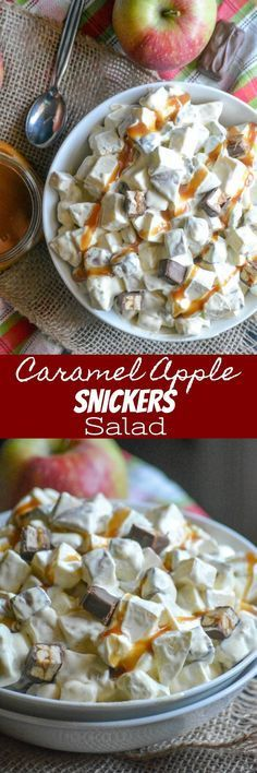 A delicious, seasonal dessert salad- Caramel Apple Snickers Salad features crisp apples, diced candies and marshmallows tossed in a sweet, creamy whipped dressing. Topped with a drizzle of smooth caramel, it's an easy treat that doesn't skimp on Fall flavor and is perfect for a crowd, even potlucks or parties. #desserts #snickers #candy #apple #salad