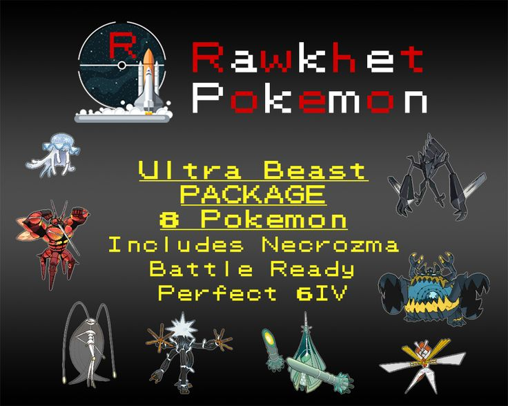 Get all the Ultra Beasts including Necrozma, or just the version exclusive ones for Sun or Moon! Each of them have Perfect 6IVs, a competitive nature, and you can choose if you want them to come fully trained and battle ready or how they were caught. Note that no further customization is allowed on this package.  List of Pokemon: Nihilego, Buzzwole, Pheromosa, Xurkitree, Celesteela, Kartana, Guzzlord, Necrozma
