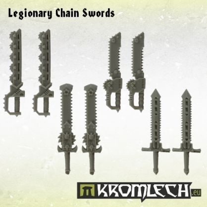 This set contains eight Legionary Chain Swords designed to fit futuristic heavy armoured troopers. There are four different designs and you get two copies of each.