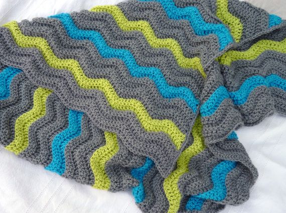 Wavy boy's crochet blanket. #etsy {love these colors for a boys blanket}