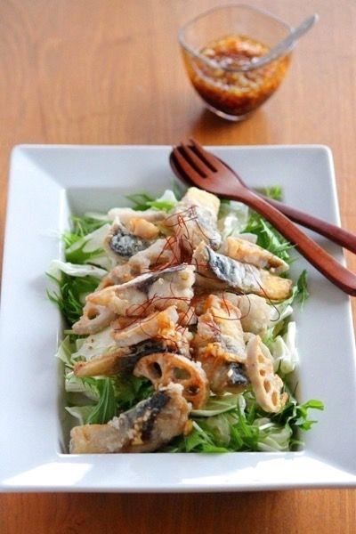 揚げサバとレンコンのサラダ仕立て。ネギドレッシング。 by 栁川かおり ...