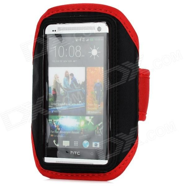 Brand: N/A; Quantity: 1 Piece; Color: Red + black; Material: PVC + diving material; Band Length: 45cm; Compatible Models: HTC ONE M7; Other Features: Provides complete protection for your device; Enjoy music while jogging, running, exercising, or working out; Adjustable Velcro band lets you adjust your arm band for maximum comfort; Packing List: 1 x Armband; http://j.mp/1lknSfU
