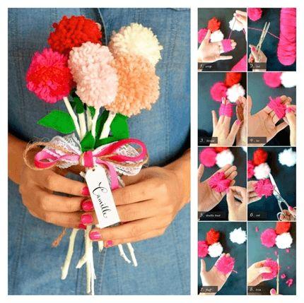 EL Yapımı Ponpon Yün Çiçek Buketi