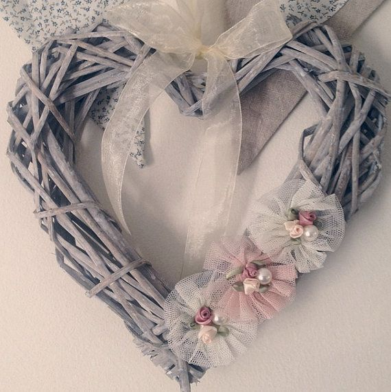 Wicker Heart Shaped Wreath Decorated with Ivory by RusticGiftShop