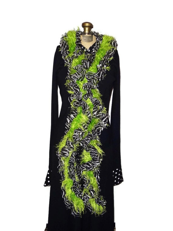 Ribbon Scarf Zebra Print & Lime Green Fun by chrysalisjewelrytx, $35.99