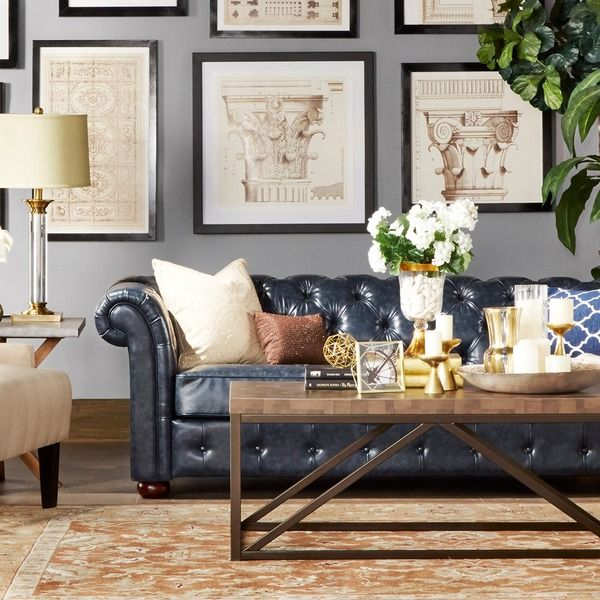 Pinterestteki 25den fazla en iyi Navy blue leather sofa fikri