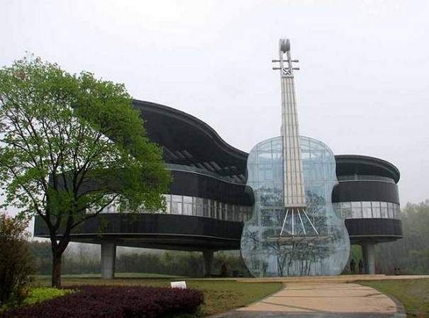 Grand piano and transparent violin, serves as both a resident and a local tourism center, An Hui Province