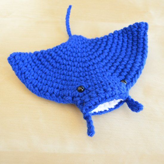 Manta rays are gentle giants that feed on plankton - find out how you can crochet your own mini manta ray.