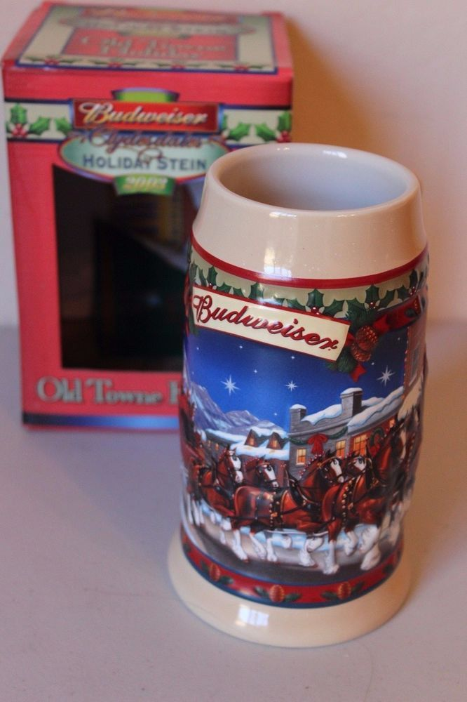 Budweiser Stein Mug 2003 Old Towne Holiday Clydesdales Annual