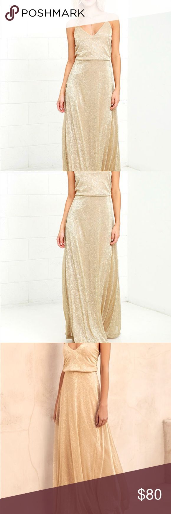 Lulus Gold Maxi Dress Lulus Exclusive! All the glamour seekers know that an amazing night starts with the Friend of the Glam Gold Maxi Dress! Beige knit, with metallic gold threading, sparkles over adjustable spaghetti straps and a relaxed triangle bodice. Fitted waist tops the lovely maxi skirt. Hidden back zipper with clasp. Fully lined. Self: 55% Metallic, 45% Polyester. Lining: 100% Polyester. Hand Wash Cold. Imported. Only worn once. Excellent condition lulus Dresses Maxi