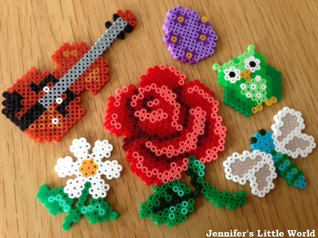 Jennifer's Little World blog: Some more mini Hama bead projects (rose, violin, flowers, dragonfly, owl, Easter egg)