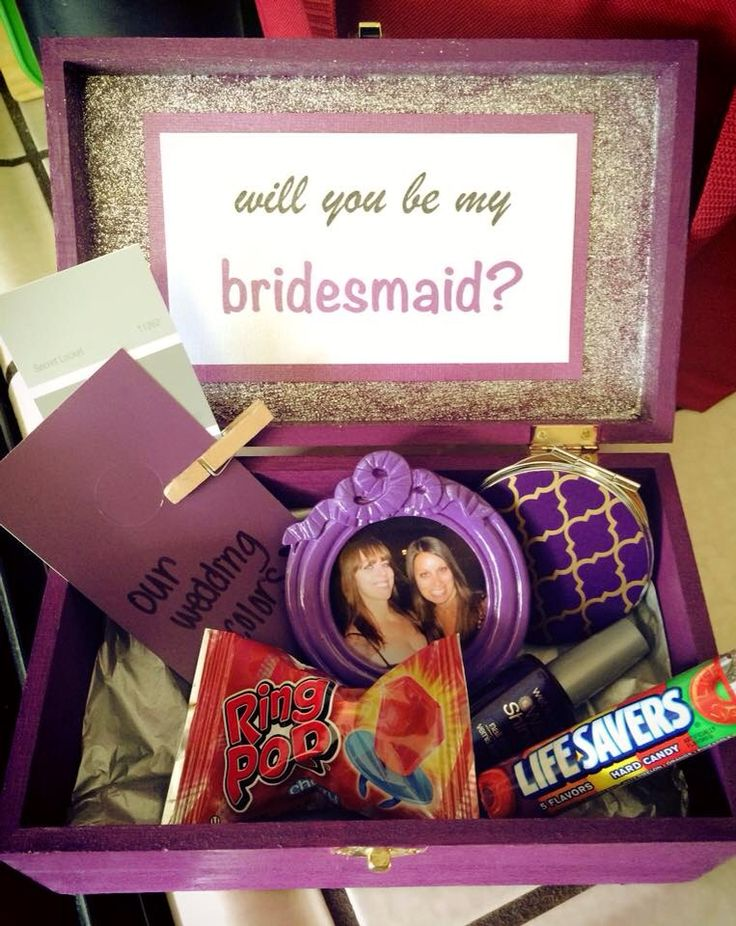 Bridesmaid box! I made these for all of my girls to ask them to be in my wedding! I bought the boxes at Michaels, along with the frame and mirror. I put their initial on the top of the box and glued the note inside the lid. Pretty easy DIY project that they loved!