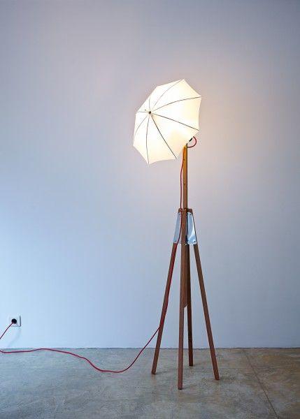 Umbrella Light .. unique standing light adjustable in height