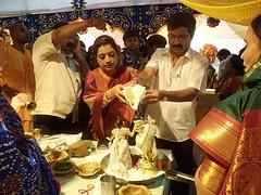 Mrs. Vaishali Bankar (Mayor Pune) performing sri krishna abhishek @ISKCONPune