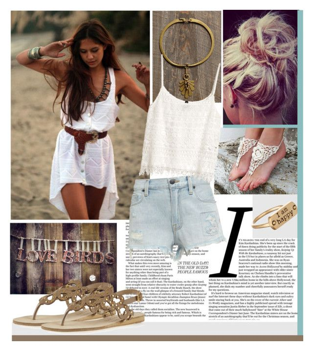"""""""Happy"""" by marijakori ❤ liked on Polyvore featuring Free People, Jens Pirate Booty, Genetic Denim, H&M and Dogeared"""