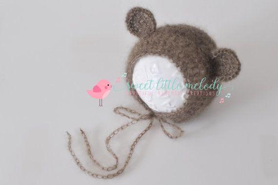 Baby Bear Ears Bonnet Newborn Bear Bonnet by SweetLittleMelody
