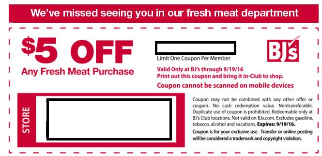 Save $3 or $5 off Fresh Meat Coupon at BJ's Wholesale - http://www.mybjswholesale.com/2016/09/save-3-5-off-fresh-meat-coupon-bjs-wholesale.html/