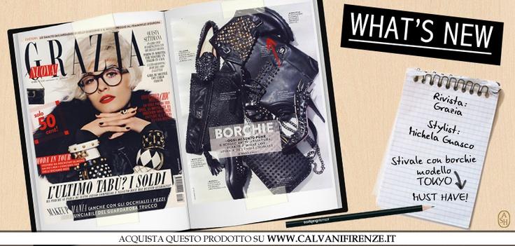 Questa settimana Grazia propone accessori total black e super borchiati. Il biker modello Tokyo di Ash con borchie e strass è il protagonista ! Perfetti per una vera rock chic lady! #ashitalia