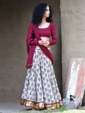 Maroon-Beige Natural Dyed Hand Block Printed Gota Embellished Cotton Lehenga-Choli & Dupatta Set of 3