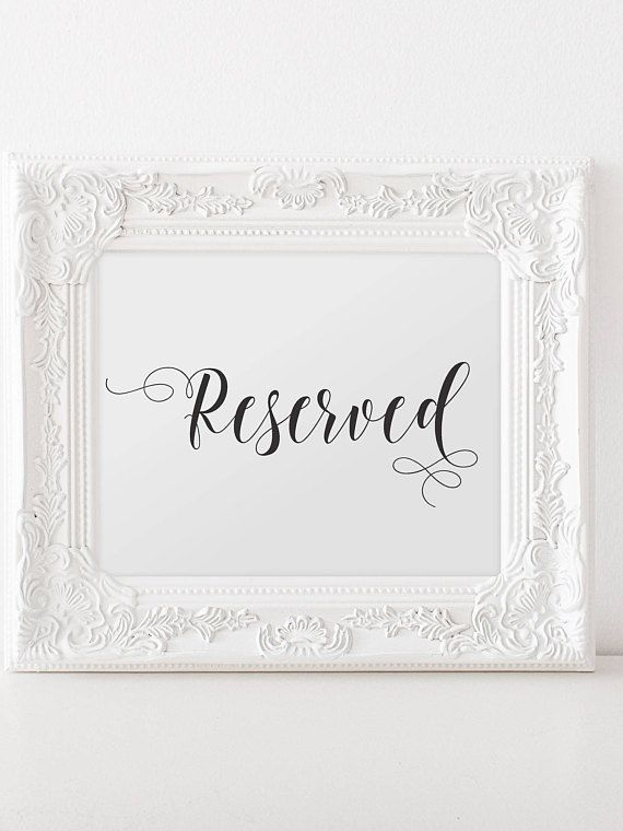 Printable Wedding Reserved Sign Reserved Chair Sign Instant Download