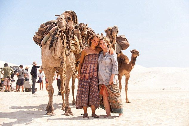 Almost 37 years after Robyn Davidson (right) made history crossing the Australian desert her epic 2700 km journey has been recreated in a film, Tracks, starring actress Mia Wasikowska (left) playing her younger self