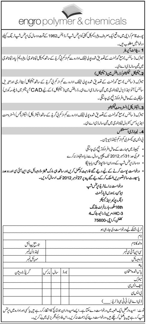 Jobs in Engro Polymer & Chemicals Cv template
