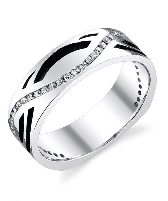The black curves complement the white Diamonds in this elegant white gold Men's Wedding Band from Mark Schneider Designs.