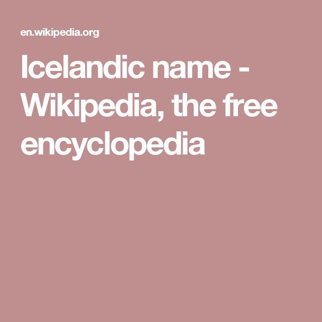 Icelandic name - Wikipedia, the free encyclopedia