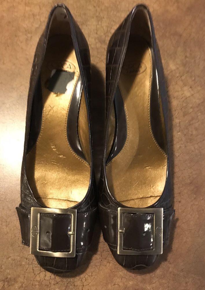 Circa Joan David Brown Leather Shoes Buckle Sz 7 Heels    eBay