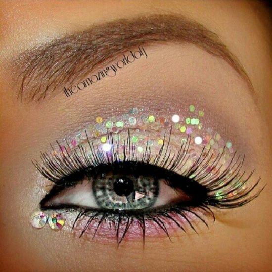 #glitter #makeup #pink #white