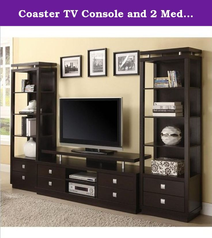 """Coaster TV Console and 2 Media Towers in Cappuccino. Coaster Casual TV Console in Cappuccino (included quantity: 1) Features: A rich cappuccino finish along with square """"push to open"""" hardware and a floating top design give this TV console casual contemporary appeal for your home. The versatile storage with four drawers, two center open compartments, and the shelf created by the floating top creates room for your media collection and components. Create an entire wall unit by adding two..."""