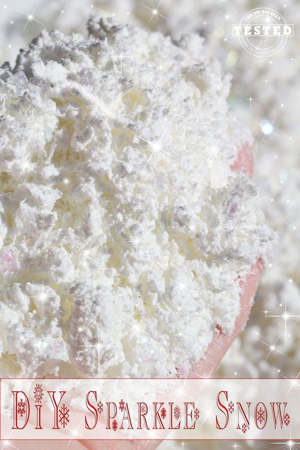 DIY Sparkle Snow - This quick and easy recipe makes the lighest, fluffiest sparkle snow. It easily compacts to make snowballs and snowmen!