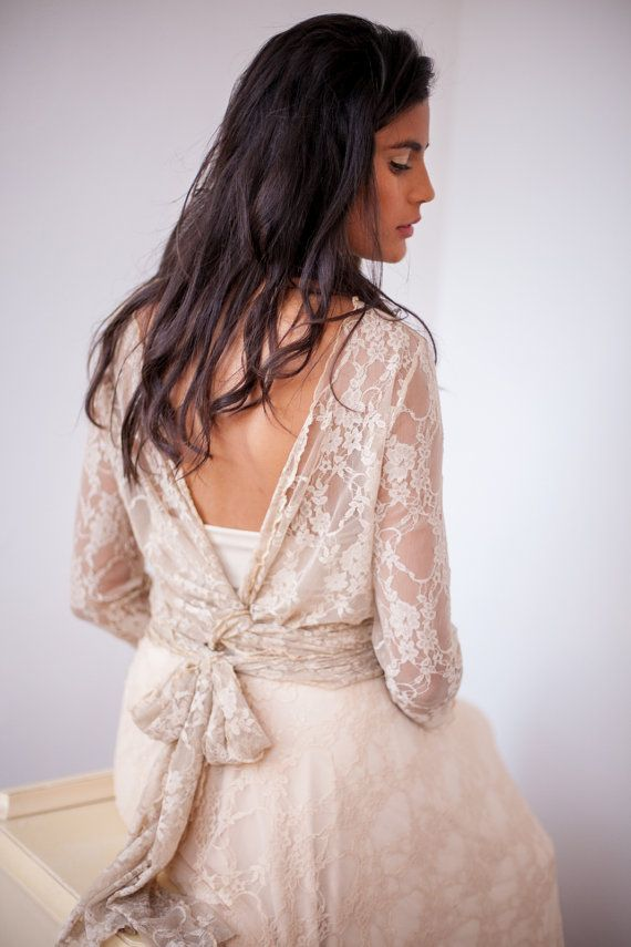 Backless wedding dress bohemian wedding dress lace by mimetik