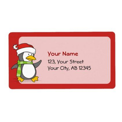 Christmas penguin walking on snow label - Xmascards ChristmasEve Christmas Eve Christmas merry xmas family holy kids gifts holidays Santa cards