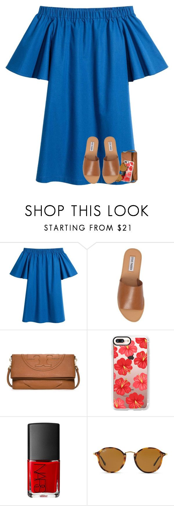 """oh summer, how i miss you"" by katie-1111 ❤ liked on Polyvore featuring Steve Madden, Tory Burch, Casetify, NARS Cosmetics and Ray-Ban"