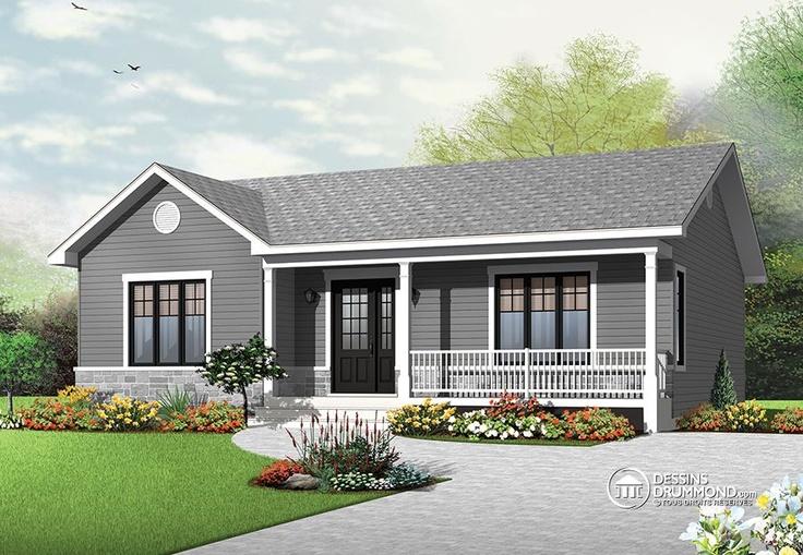 Plan de Maison unifamiliale W3136, belle maison de style craftsman et champêtre à prix abordable, parfait pour une jolie petite famille. 2 chambres
