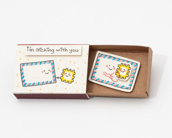 Cute Love Card/ Tiny Postage card/ Gift for Him/ Gift for Her/